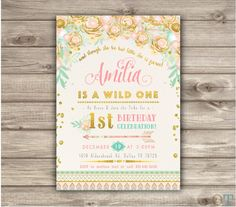Wild One Birthday Invitations Pink and Gold Party girl by cardmint