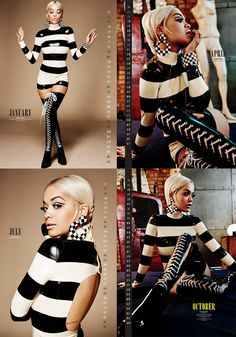 Rita Ora in Danny Deluxe black and white latex stripes top, hotpants and latex stockings with lace in 4 pics in new calendar 2016!! January - April - July - October and we love it !! #ritaora #dannydeluxelatex #fashion #celebrity #style #ritaorafans #latex #news