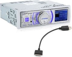 """IDA-X100M Alpine MARINE Multimedia Head-unit with USB and iPod Control by Alpine. $342.97. * 2.2"""" TFT full color display  * CEA-2006 Power Rating: 18W x 4  * Max Power Output: 50W x 4  * 24-Bit Burr Brown DAC  * iTunes Tagging for HD Radio  * Plays MP3, WMA, and AAC music files from external sources Selectable Dual Illumination (Blue/Red)  * Sub Display Output for use with OEM sub displays  * USB Connection for iPod (cable included)  * Full Speed for iPod (usi..."""