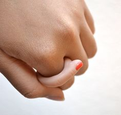 This is such a cool ring!  Finger Ring with Red Nail Polish by fatmanatee on Etsy, $14.00
