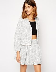 Asos Cropped Ovoid Quilted Blazer - Grey on shopstyle.co.uk