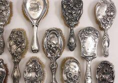 ❥ vintage silver brushes