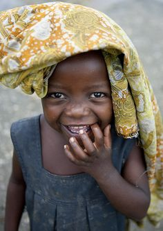 Girl from Brasserie area smiling, Rwanda