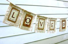 Rustic Wedding Lace Burlap LOVE is SWEET Banner, Custom Colors Available