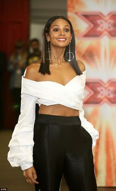 Abs-olutely fabulous: The Mis-Teeq star, who was filling in for judge Sharon Osbourne, gave a flash of her toned stomach in a ruffled bardot crop top Alexa Dixon, Strictly Come Dancing Winners, Ciara Style, Black Is Beautiful, Beautiful Women, Bardot Crop Top, Amanda Holden, Tv Presenters, Beautiful Celebrities
