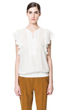 TOP WITH FRILL AND LACES - Tops - Woman | ZARA Greece