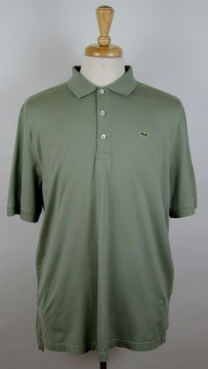 Lacoste Men's Olive Green Short Sleeve 100% Cotton Polo Shirt 7 XL  #Lacoste #PoloRugby