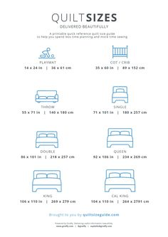 Printable Quilt Size Guide - Download the PDF from quiltsizeguide.com | Common Quilt Sizes, powered by Gireffy