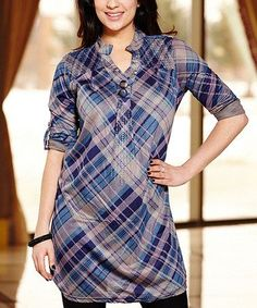 Blue plaid tunic
