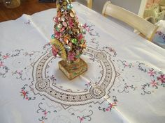 Vintage Embroidered tablecloth table cover by HerminasCottage, $31.00
