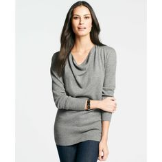 Ann Taylor Drape Neck Cashmere Sweater ($170) ❤ liked on Polyvore