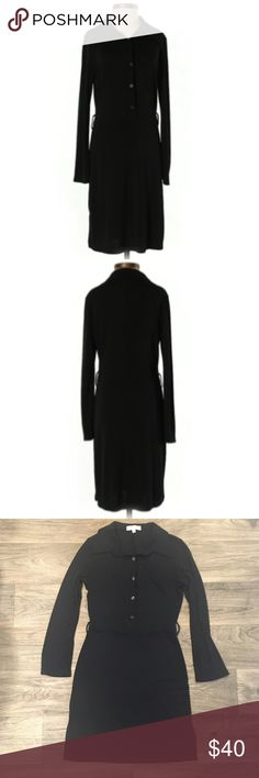 White House Black Market Black Long-sleeved Dress Polyester WHBM long-sleeved black dress with buttons down the front, belt loops (no belt included), and slits on both sides of the skirt. Approx. knee-length. White House Black Market Dresses Long Sleeve