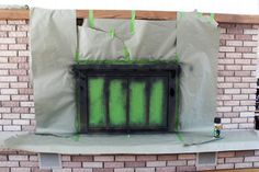 Paint A Brass Fireplace Black . it took her about a hour from start to finish to spray paint her fireplace from brass to black . Brass Fireplace Makeover, Metal Fireplace, Painted Brick Fireplaces, Fireplace Doors, Paint Fireplace, Home Fireplace, Fireplace Inserts, Fireplace Design, Paint Brass