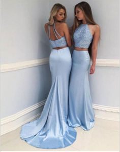 two pieces prom dress, blue long prom dress,