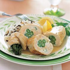 Asparagus-Chicken Roulades - swap goat cheese for low fat cream cheese and use brown rice
