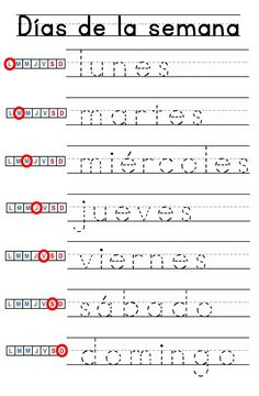 Guided Writing, Days of the Week Kindergarten Level - Guided Writing, Days of the Week Kindergarten Level - Preschool Homework, Preschool Spanish, Preschool Writing, Elementary Spanish, Preschool Learning Activities, Kindergarten Worksheets, Spanish Worksheets, Spanish Teaching Resources, Spanish Lessons For Kids