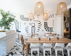 At Common House, a social club in Charlottesville, Virginia, by Wolf Ackerman Design and Hanover Avenue, the café boasts rattan pendant fixtures and an acrylic mural by. Japanese Interior Design, Retail Interior Design, Japanese Design, Luxury Interior Design, Interior Design Inspiration, Modern Design, Cafe Signage, Club Design, Down South
