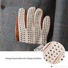 Gloves in lambskin and real handmade crochet work.  Available at zampadigallina.com