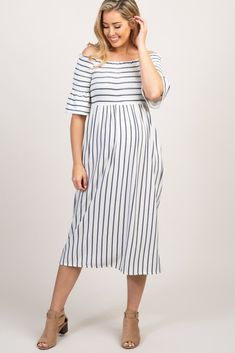 434811ff658 White Striped Smocked Off Shoulder Maternity Dress