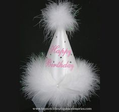 Girls Happy Birthday White Marabou Party Hat