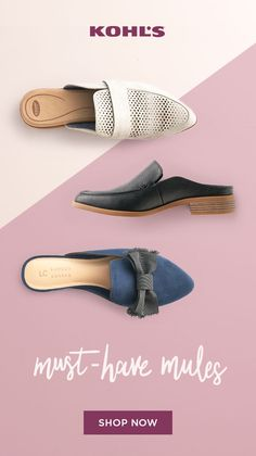 Step into fall with shoes from Kohl's. Mules are on trend for the season and instantly upgrade any fall outfit. They're comfy, too! Try out these neutral Dr. Scholl's slip-ons that have hints of stylish details. For a casual look, grab Mules Shoes, Flats, Gucci, Black Mules, Beautiful Shoes, New Shoes, Comfortable Shoes, Me Too Shoes, Lauren Conrad