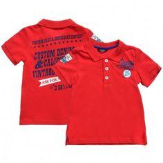Boys Red Cotton Polo T-Shirt #Guess Inc #boys fashion