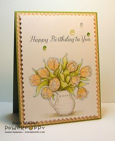 Tulips in Hobnail Pitcher Digital Stamp Set   Power Poppy by Marcella Hawley, card design by Barb Walker.