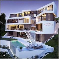 Dream Home Design, Modern House Design, Dream Mansion, Luxury Homes Dream Houses, Modern Mansion, Mansions Homes, Dream House Exterior, Modern Architecture House, House Goals