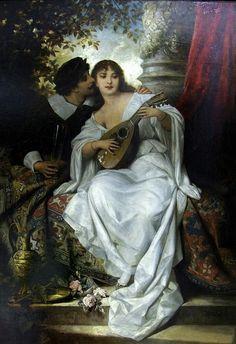 English : I love You , 1899 Painting by Vaclav Brozik, Czech, 1851 - 1901 Couple Photography, Fine Art Photography, John William Godward, Woman Singing, Academic Art, Romanticism, Romantic Couples, Beautiful Paintings, Female Art