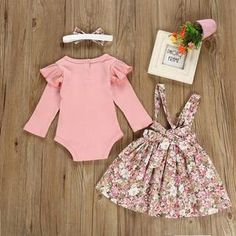 Baby Solid Flounced Romper and Floral Print Suspender Skirt with Headband Set Toddler Girl Outfits, Baby Outfits Newborn, Toddler Girls, Mona Lisa, Pink Kids, Spring Outfits, Spring Clothes, Floral Romper, Suspender Skirt