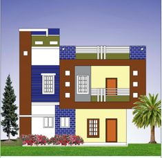 building elevation ground and floor Single Floor House Design, Modern Small House Design, Bungalow House Design, Cool House Designs, Building Elevation, House Elevation, Building Facade, Indian Home Design, Kerala House Design