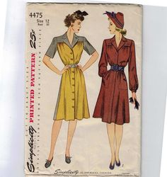 1940s Vintage Sewing Pattern Simplicity by historicallypatterns