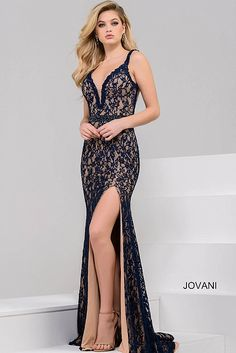 de4ebbf230 Navy and Nude Plunging Neckline Lace Evening Dress 36460 Navy Prom Dresses