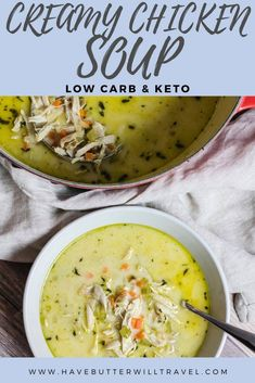 This keto chicken soup is a creamy soup sing shredded chicken and some vegetables. It will definitely be a hearty meal that warms you from the inside out. #ketochickensoup #ketosoup #lowcarbchickensoup #lowcarbsoup Diet Lunch Ideas, Diet Dinner Recipes, Diet Soup Recipes, Keto Soup, Chicken Soup Recipes, Lunch Recipes, Keto Recipes, Healthy Recipes, Ketogenic Recipes
