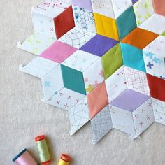 EPP using Modern Backgrounds Colorbox and Bella Solids, made by Tales of Cloth