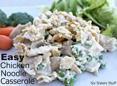 Easy Chicken Noodle Casserole at sixsistersstuff.com #Chicken #Recipe