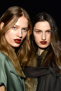 """Makeup artist Francelle Daly said """"Utilitarian punk is the direction this season"""" and the tough oxblood red shade on the models' lips at Phillip Lim came courtesy of the new Nars VIP Red Lipstick (out in Autumn 2015, for now try Mysterious Red Velvet Matte Lip Pencil)."""