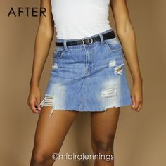 Here's how to turn some old jeans into a cute no-sew denim skirt with no sewing! Song: Hip-Hop Instrumental x Hyde Ropa DIY Denim Cut-Off Skirt (NO SEWING) Diy Jeans, Diy Denim, Sewing Jeans, Sewing Clothes, Sewing Diy, Sewing Hacks, Sewing Tutorials, Sewing Shorts, Diy Shorts