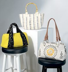 New handbag sewing pattern by Khaliah Ali for McCall's. M7334, Bags in Three Styles