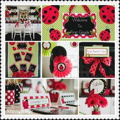 Will make this for my classroom. Schoolgirl Style Ladybug Classroom Theme collage Cute for a classroom! Red Classroom, Preschool Classroom Decor, Classroom Design, Classroom Setup, Classroom Organization, Classroom Environment, Future Classroom, Classroom Teacher, Preschool Ideas