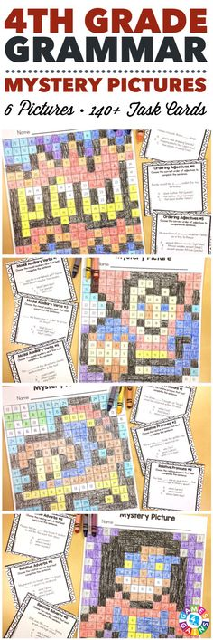 These SUPER FUN 4th grade grammar mystery pictures are perfect for practicing key 4th grade Common Core language standards! This set includes 6 different pictures and over 140 task cards covering relative pronouns, relative adverbs, the progressive verb tenses, modal auxiliaries, adjective order, and prepositional phrases!