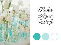 Turquoise Agua wedding color palette, Türkis Hochzeitsfarben-Kombi