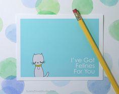 Cute Cat I Love You Card by SunnyDoveStudio #cute #kawaii #cat #love #card #greetingcard #etsy
