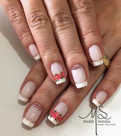 As 99 melhores unhas francesinhas decoradas por manicures do Brasil Chic Nails, Nail Designs, Manicures, Nail Art, Beauty, Nail Jewels, Art Nails, Best Nails, White Nail Beds