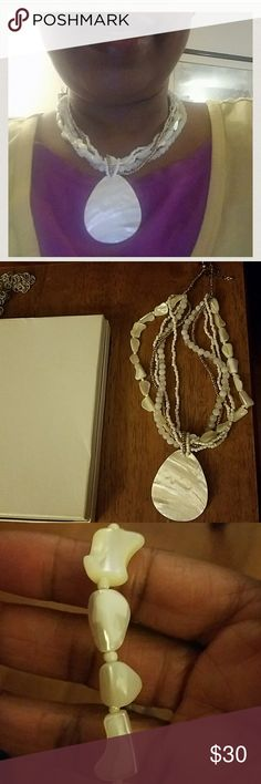 """White Abalone Shell Necklace White Abalone Shell necklace with strands of white and gold seed beads and white round beads and  shimmering abalone shell  fragments as beads. Adjustable closure 16-18""""  """"Signed VJ"""" VJ Jewelry Necklaces"""