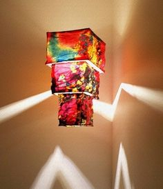 Colourful handmade printed silk lantern Hanging by BilasLanterns, $160.00