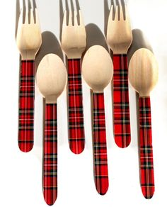 Greenware | Utensils / Eco-Friendly | Tartan Wooden Utensils-10 spoons and 10 forks | Green Toys, Gifts & Party Supplies at Green Party Goods