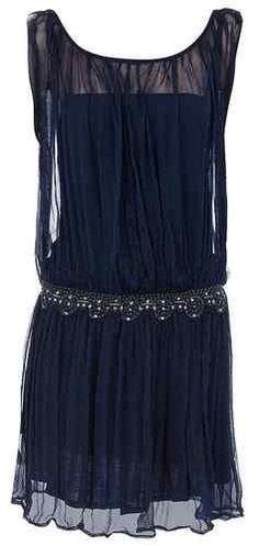 NAVY 18 BLUE VTG 1920s vibe FLAPPER BEADED CHARLESTON SEQUIN DECO DRESS BNWT