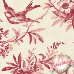 "Garden of Enchantment 8076-ER by Maywood Studio: Garden of Enchantment is a beautiful collection by Maywood Studio.  100% cotton, 44""/45"" wide.  This fabric features brids and flowers in red on a cream background."