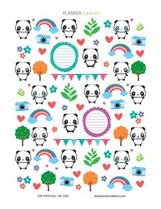 Pandas Description: The sheet of this printable planner stickers size is x inches 1 ZIP file containing 1 JPG file, 1 PDF file & 1 Silhouette cut file. Materials needed: File Free Planner, Happy Planner, Blog Planner, Kikki K, Printable Planner Stickers, Printable Templates, Free Printables, Passion Planner, Kawaii